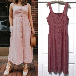 NWT Rachel Zoe Red Linen Midi Dress